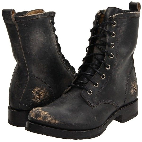 Frye Veronica Combat Women's Lace-up Boots (€245) ❤ liked on Polyvore featuring shoes, boots, ankle booties, ankle boots, leather booties, combat boots, military combat boots, short combat boots and leather lace up boots