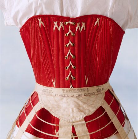 """""""1860s crinoline hoop with a white chemise underneath"""" and a bright red corset too! at Killerton, Devon. National Trust Image # 81833"""