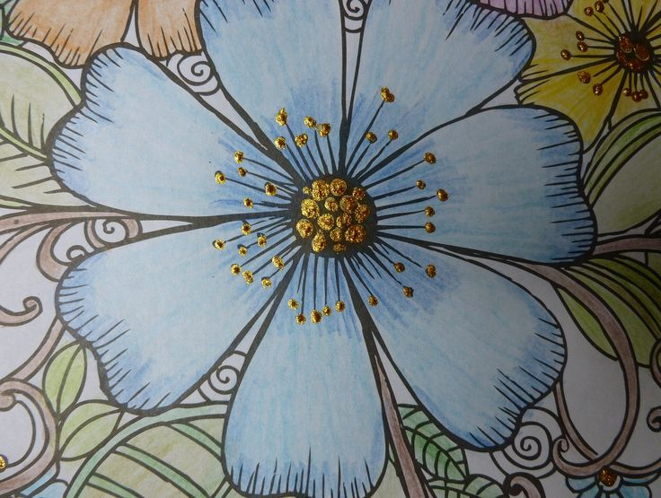 Close up of flowers coloured with coloured pencils and highlighted with Imagination Craft's rich gold Starlight paint.  Taken from the 'Colour Me Happy' colouring book.  July 2016.  Coloured by Jennifer Johnston.