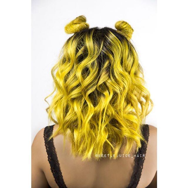 Neon Yellow Hair Color and Bumble Bee Style by Beetle Juice hotonbeauty.com