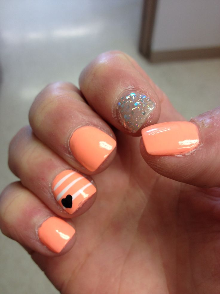 Orange Nails With Chevron And Glitter Nail: Peach Nails Designs
