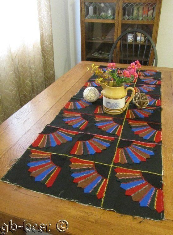 Country Living 1900s 24 Fans Quilt Piece Runner 71 x 23 Red Blue Black Brown | eBay