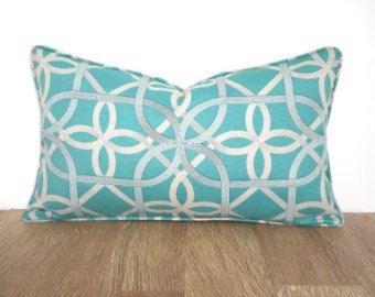 teal outdoor lumbar pillow case 20x12 geometric outdoor cushion cover teal and beige trellis