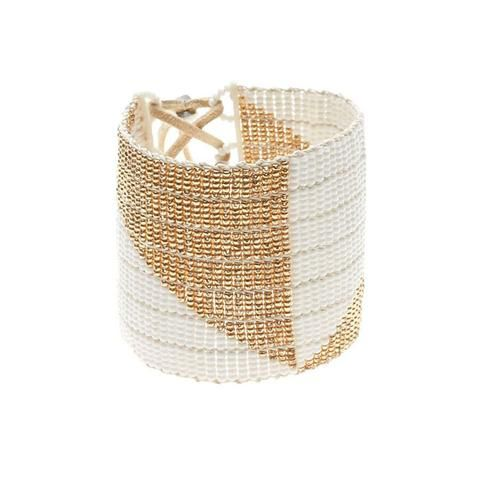 Sidai Designs Wide Geometric Warrior Bracelet White and Gold
