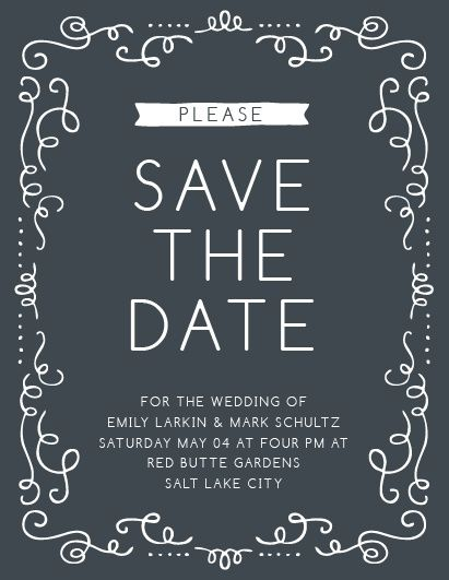 The Surrounded in Swirls Save the Date Card is modern yet classy! With this trending design, you can change all the colors in order to match your wedding scheme. Personalize the card and see your modifications instantly!