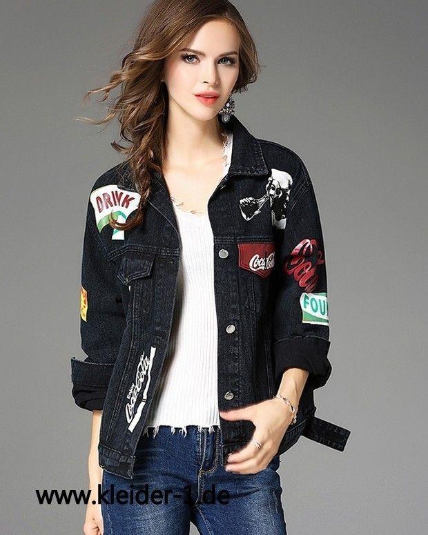 Damen Jeans Jacke in Schwarz mit Coole Muster