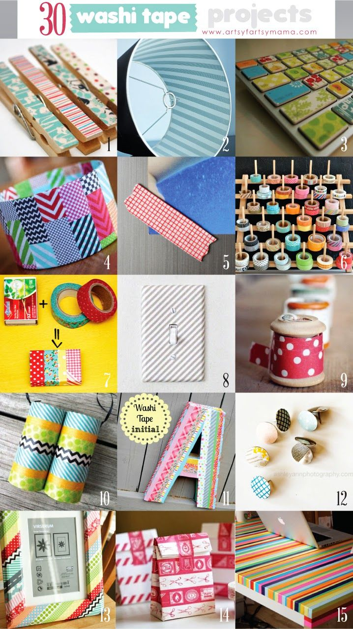 30 Washi Tape Projects artsyfartsymama.com #washi #washitapeprojects