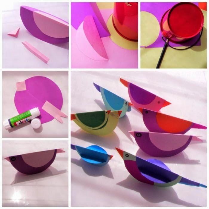 Manualidad infantil: Pájaros de cartulina - http://decoracion2.com/manualidad-infantil-pajaros-de-cartulina/63759/ #ManualidadInfantil