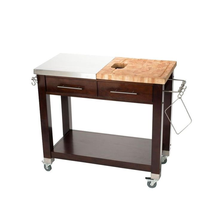 Chris & Chris Chef Stainless Steel Kitchen Cart With Wood Top - JET3188