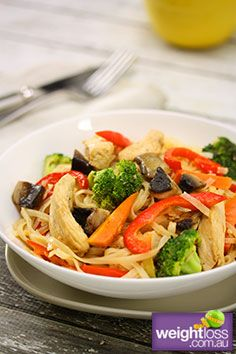 Healthy Asian Recipes: Ginger Chicken with Noodles. #HealthyRecipes #DietRecipes #WeightlossRecipes weightloss.com.au