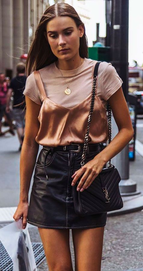 bronze #bralette over #blush tee black #leather mini #skirt street style #outfit