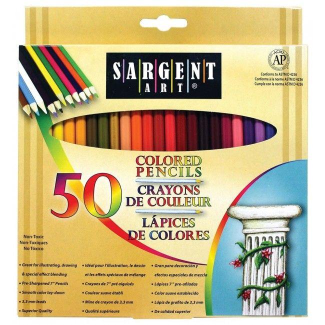 Conjunto de Lápis de Cor com 50 lápis, 48 cores - alta qualidade - Sargent Art
