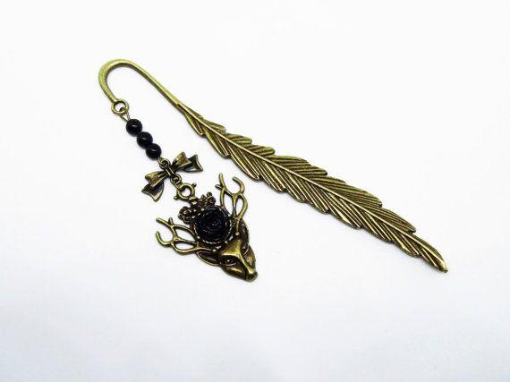 Lesezeichen Metall bronze Hirsch Deer Feder Rose von Mystiikka
