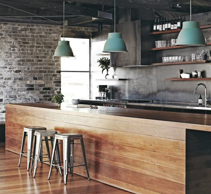 Froy Blog Industrial Modern.  Different types of decorating styles explained with photos. Exposed brick wall.  Wood.  Metal.  Brick. Modern rustic industrial kitchen.