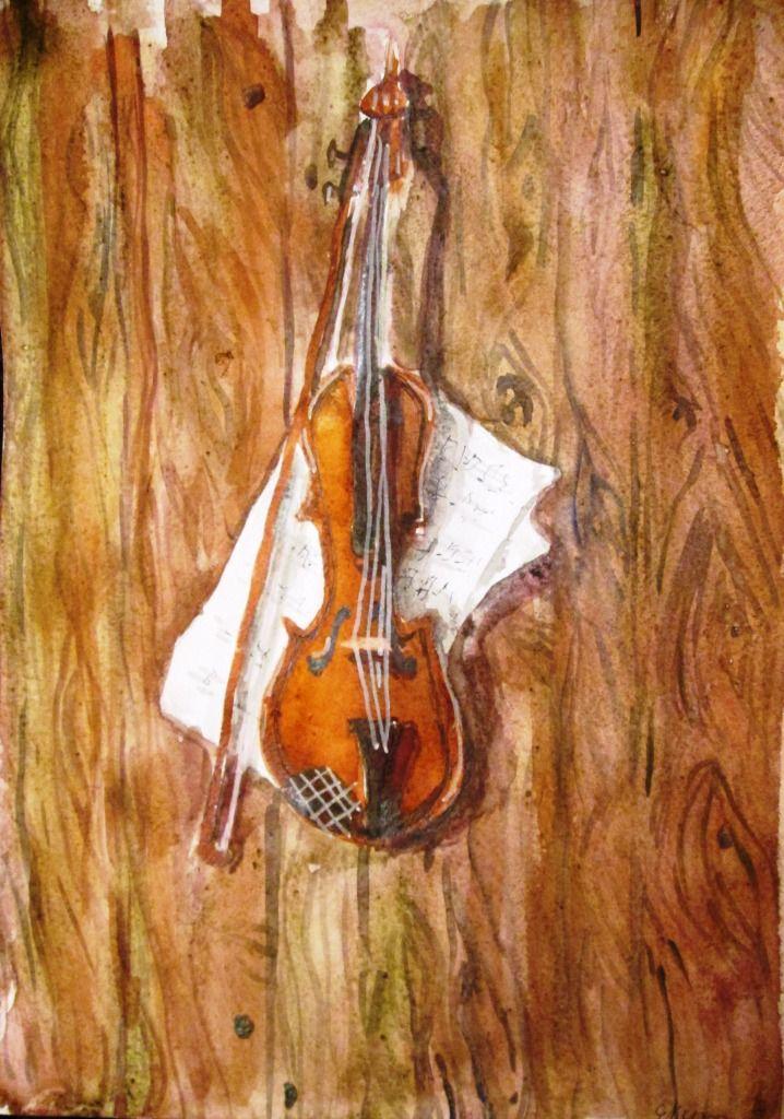 скрипка и ноты. акварель. учебное задание