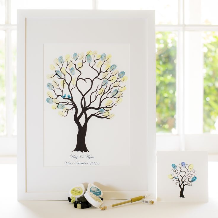 Unity Tree - Teal birds guest book for Wedding, funeral or other celebration. Illustrated by Ray Carter - The Fingerprint Tree® Made-to-order, ships worldwide. The Fingerprint Tree®, bespoke gifts you'll treasure!