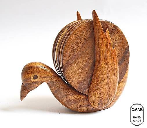 Drevené podšálky Vtáčik | Bird Wooden Coaster