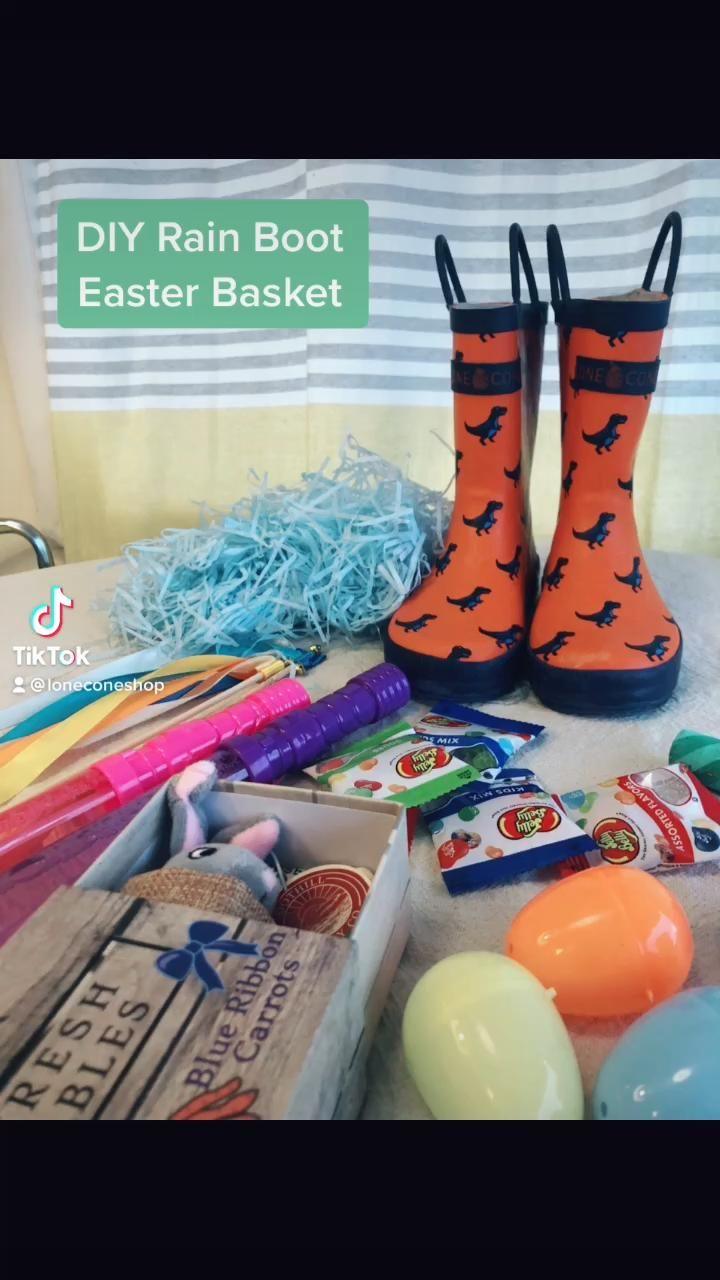How To Make A Rain Boot Easter Basket Video In 2021 Easter Basket Diy Easter Baskets For Toddlers Easter Baskets