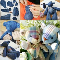 Your kids will love these DIY cute teddy bears that made from old jeans . #diy #craft #Teddy bear
