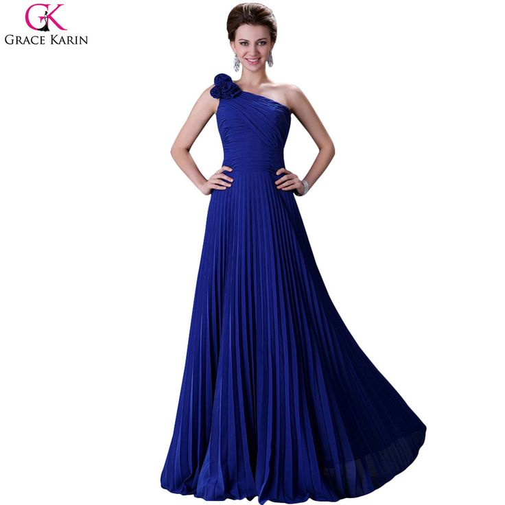 2013 Hot Formal colorful Prom Gown One Shoulder Pleated Long Chiffon Party Evening Dress 8 Size CL3467