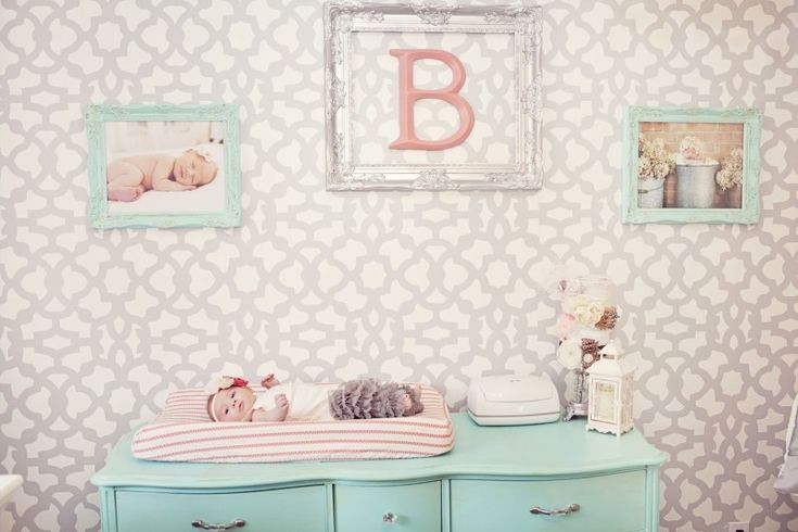 Design Tip: Keep the art simple (like the framed initial and newborn pictures) if you have a patterned wall! #nursery: Newborns Pictures, Projects Nurseries, Design Tips, Gray Stencil, Coral Turquoise, Gray Wall, Gray Nurseries, Coral Accent, Stencil Wall