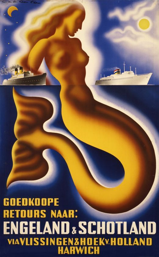 Cheap return to England and Scotland with the Dutch Vlissingen & Hoek company c.1945 - vintage travel poster