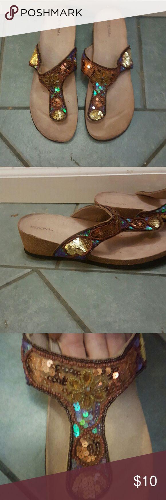 platform flip flops dressy flip flops with sequins and jewel detail, slight platform, cork bottoms, super comfy, slightly worn Shoes Sandals
