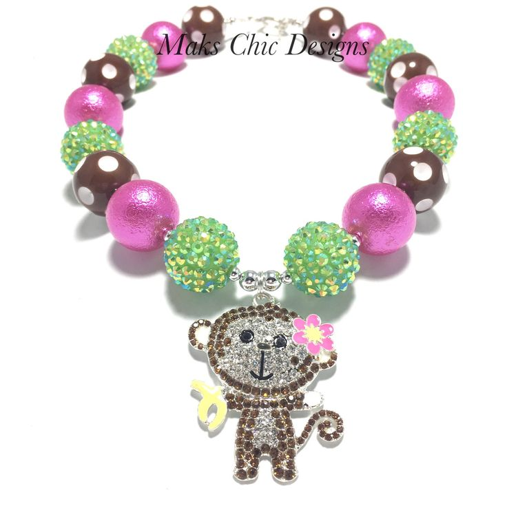 Toddler or Girls Monkey Chunky Necklace - Monkey Birthday Necklace - Green, Hot Pink and Brown Chunky Necklace - Girls Jungle Necklace by MaksChicDesigns on Etsy