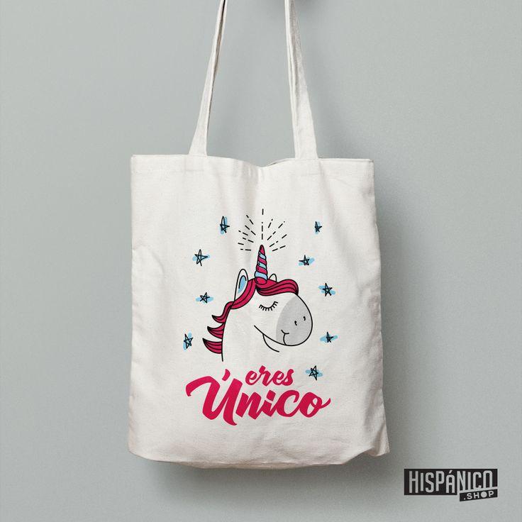 'Eres Único' means 'You're unique'. Beautiful spanish bag with a unique unicorn :). A great idea for a present!