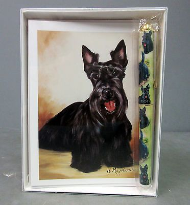 New-Scottish-Terrier-Pet-Dog-6-Notecards-Envelopes-Pen-Gift-Set-Terriers-Dogs
