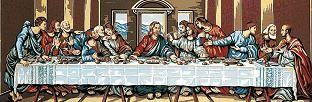 Gráfico de punto de cruz para bordar cuadro de La última cena de Jesús