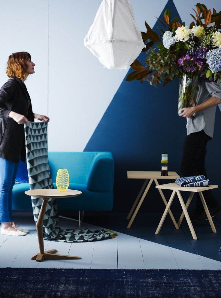 Our stylist, @Vanessa Colyer Tay, and styling assistant Adam De Launay setting up for our 'Homewares Trend' story, featured in the September/October 2012 issue of Inside Out magazine. Photo by Lisa Cohen.