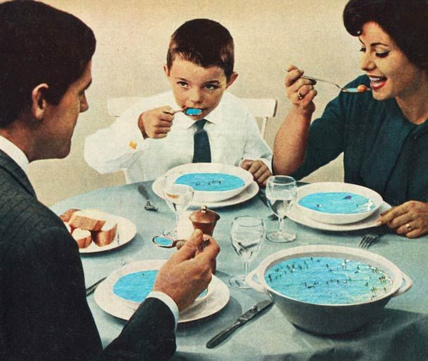 Les collages de l'artisteSammy Slabbinck, fasciné par les images rétro des magazines des années 60 et 70. Cet artiste belge mélange éléments vintages et