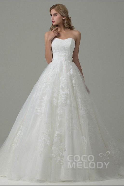 Charming A-Line Sweetheart Natural Train Tulle Ivory Sleeveless Lace Up-Corset Wedding Dress with Appliques B14E3A024