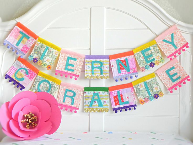 Name Garland, Personalized Garland, Felt Name Banner, Name Bunting, Baby Name Banner, Custom Name Garland, Name Banner, Rainbow Garland, by AFeteBeckons on Etsy https://www.etsy.com/listing/530362894/name-garland-personalized-garland-felt