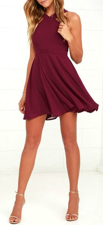 Lulus Exclusive! Our hearts will belong to the Forevermore Burgundy Skater Dress 'til the end of time! Semi-sheer shoulder straps form a modified halter neckline atop a fitted bodice with princess seams. A flirty skater skirt, composed of lightweight Georgette, flares below a banded waist. #lovelulus