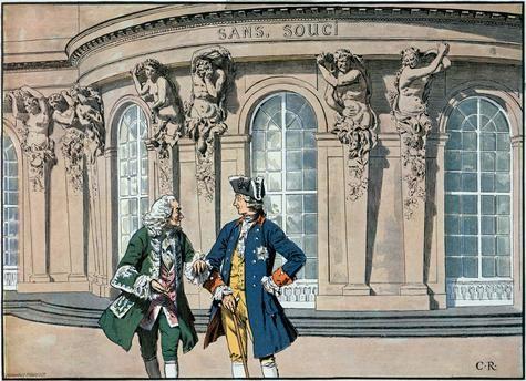 König Friedrich und Voltaire in Sanssouci