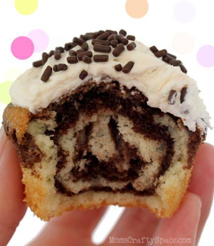 Chocolate Vanilla Swirled Birthday Cupcakes. @Emily Schoenfeld Schoenfeld Craig can we plz
