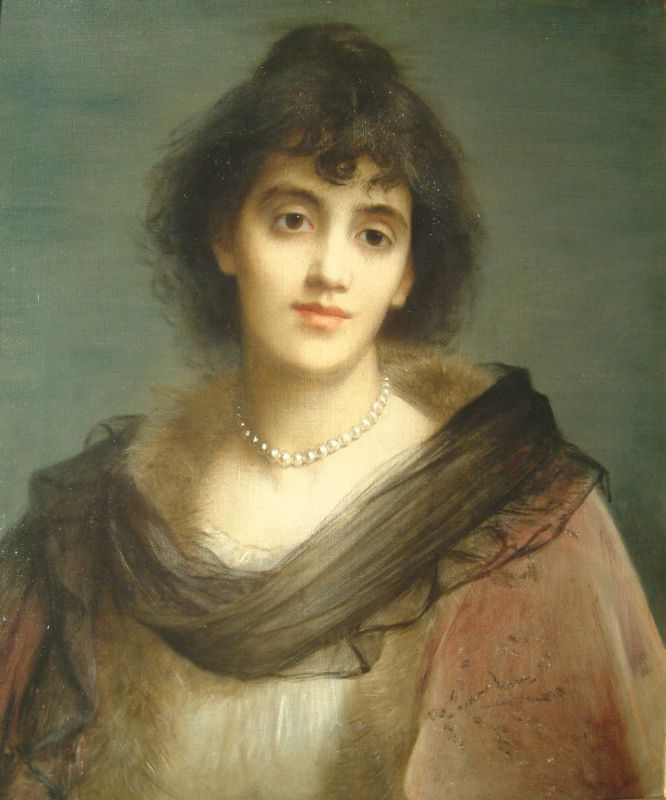 Portrait of Mrs Patrick Campbell by Charles Edward Halle (1846-1914)....British actress....supposedly Mrs Campbell was the first actor to blaspheme on the British stage in a performance of Shaws 'Pygmalion' in 1914...