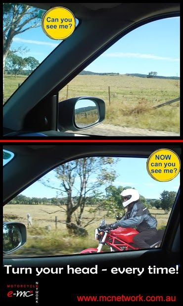 Always check your blind spot! Pic courtesy of: http://mcnetwork.com.au/