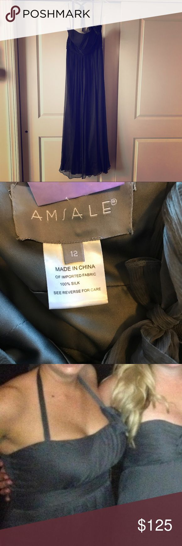 Amsale Bridesmaid Dress Charcoal Amsale silk chiffon halter dress. Worn once as a bridesmaid. Dry cleaned. Close up photo shows what the neckline is like. Size 12 altered and hemmed to probably somewhere around 8-10. Amsale Dresses