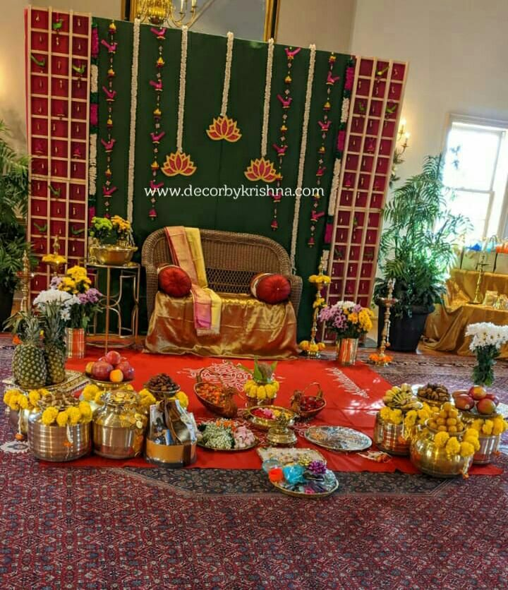 Pin By Deepa Devisetty On Lakshmi Puja In 2020 Indian Baby Shower Decorations Housewarming Decorations Indian Baby Showers