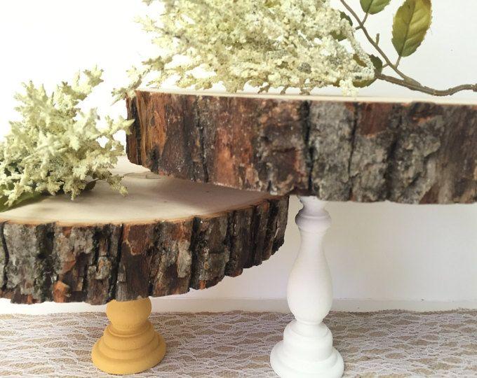 Gâteau en bois Stand 7-10 », Stand de Cupcake, arbre en bois dalle, partie décor, décor de Table à Dessert, Stand de gâteau de mariage, Stand CakePop, rustique