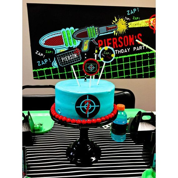 Laser Tag Cake Toppers Laser Tag Birthday Party Printable Cake Decorations - Printable Customized Designs