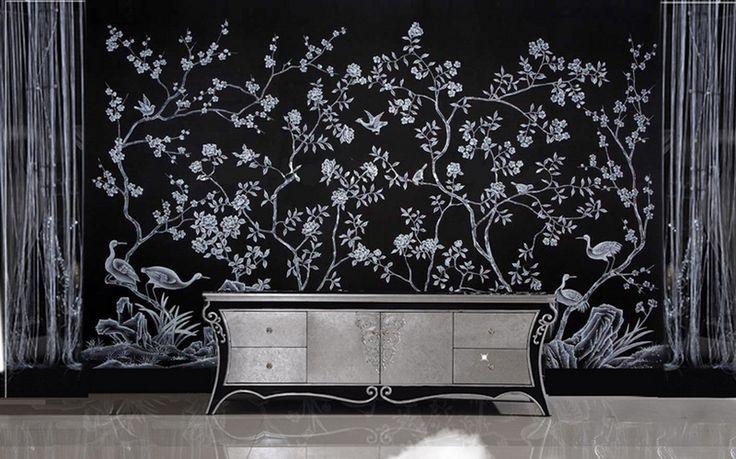 爱 Chinoiserie? Mai Qui! 爱 dramatic black and white chinoiserie mural