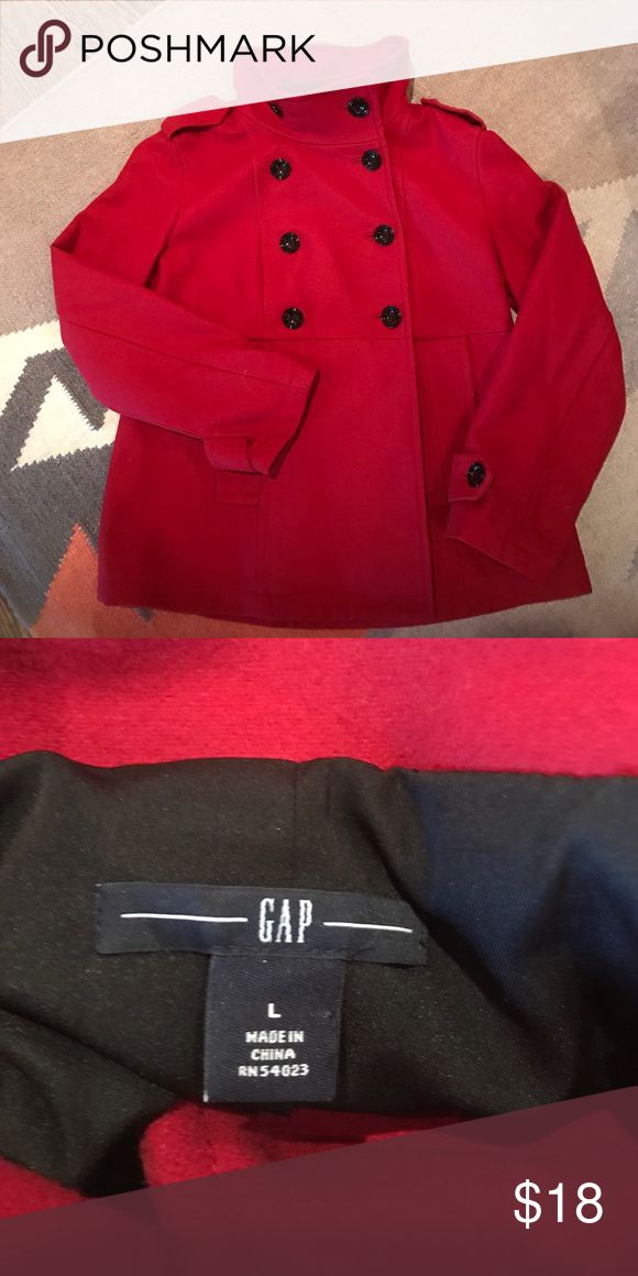 Gap Coat Beautiful rich red, size large, funnel neck dress coat. Looks really special on👌🏼 Jackets & Coats
