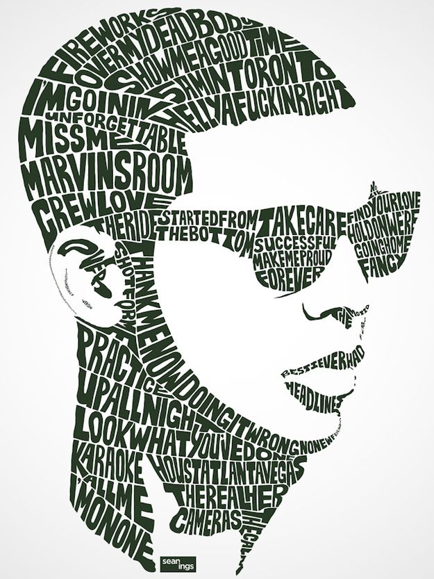 Drake | Pop Star Portraits Made From Their Famous Lyrics