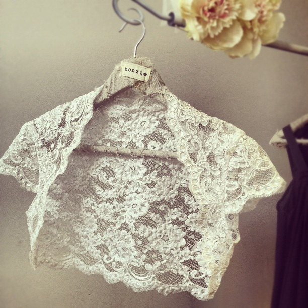 Romantica Lace Bridal Shrug - Vintage Inspired Wedding Lace Bolero in Ivory. $250.00, via Etsy.