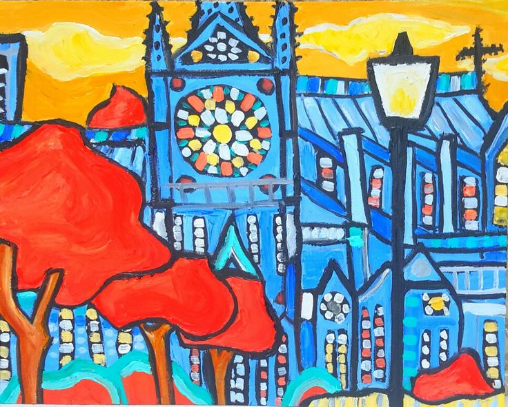 acrylic painting of Notre Dame Cathedral in Paris by me Katie Jurkiewicz