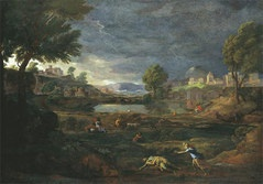 Nicolas Poussin; Landscape during a Thunderstorm with Pyramus and Thisbe; 1651, Oil on canvas.  Städel Museum, Frankfurt, Germany